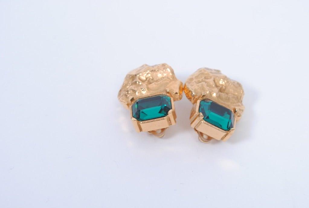 YSL Gold/Emerald Earrings 3