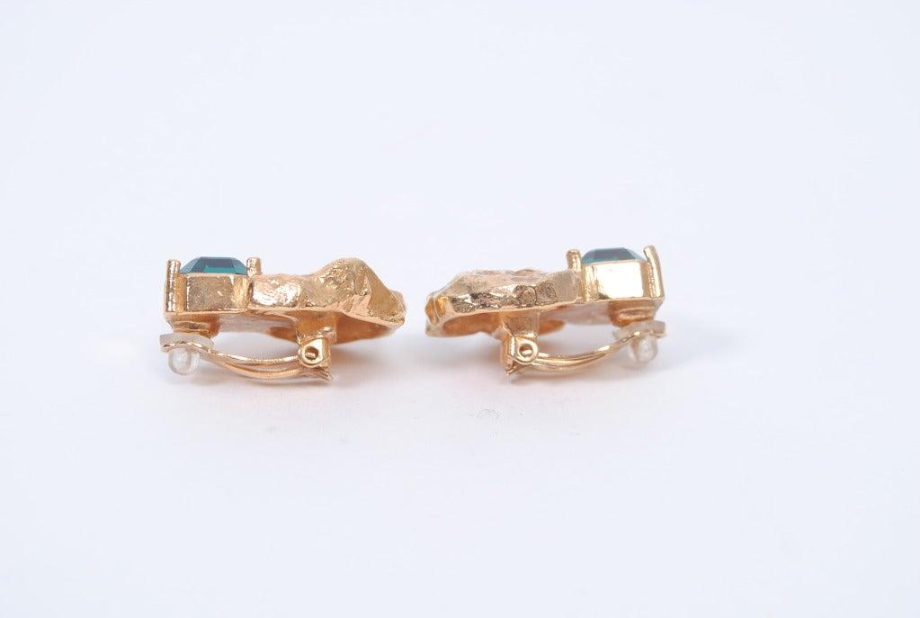 YSL Gold/Emerald Earrings 4