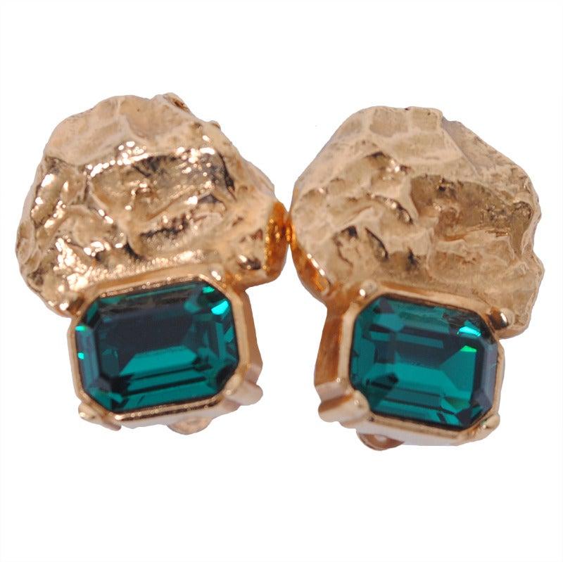 YSL Gold/Emerald Earrings 1