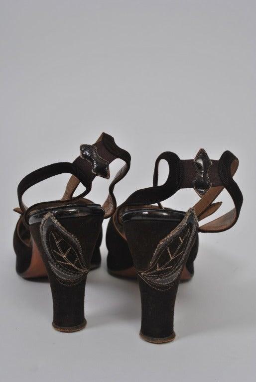 Women's 1940s Brown Suede Platform Shoes, 7M For Sale