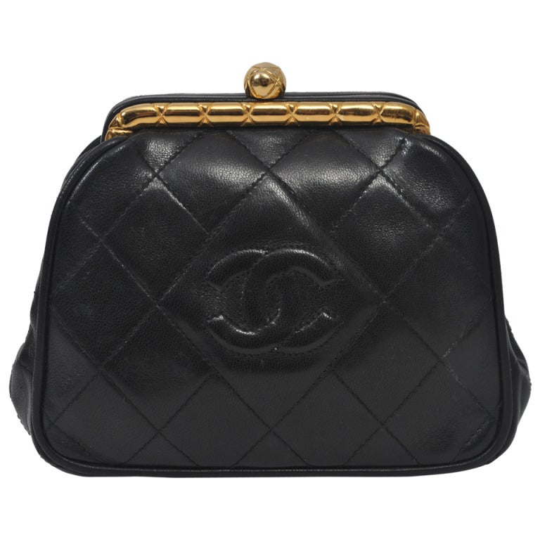 Chanel Black Leather Quilted Convertible Clutch 1