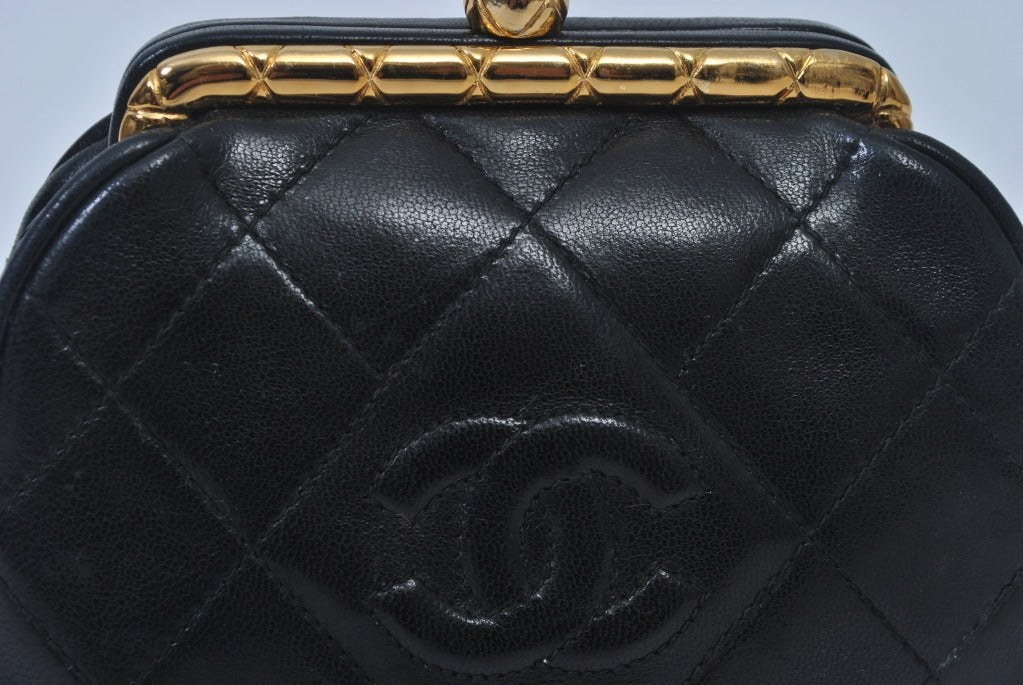 Chanel Black Leather Quilted Convertible Clutch 2