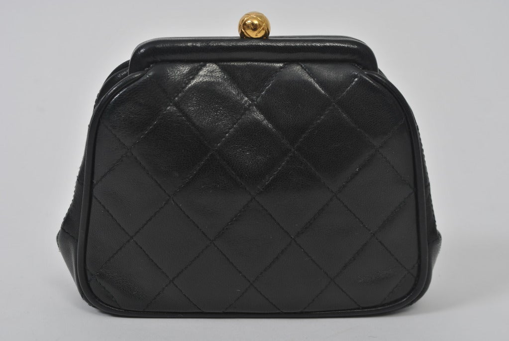 Chanel Black Leather Quilted Convertible Clutch 4