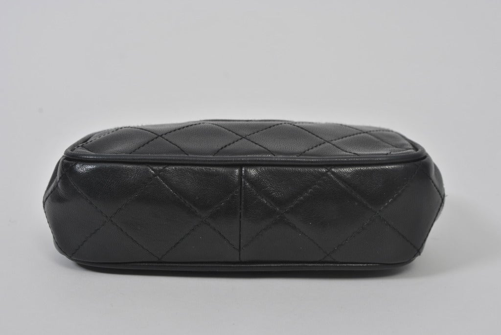 Chanel Black Leather Quilted Convertible Clutch 5