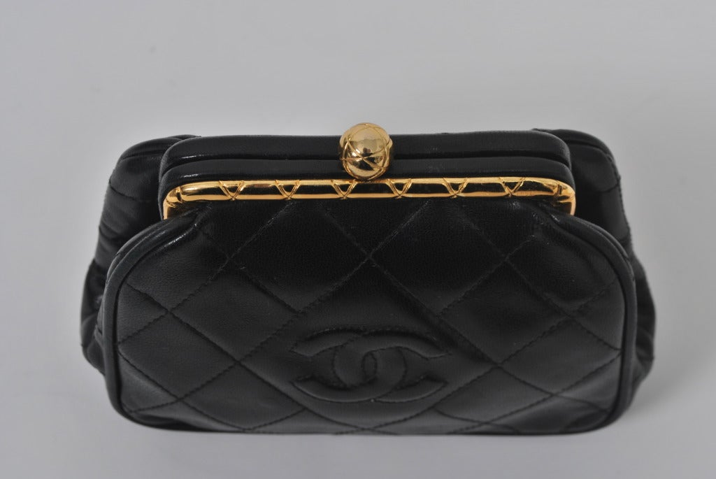 Chanel Black Leather Quilted Convertible Clutch 6