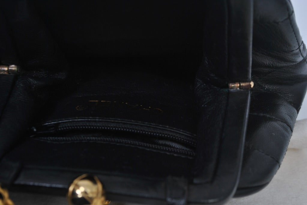 Chanel Black Leather Quilted Convertible Clutch 7
