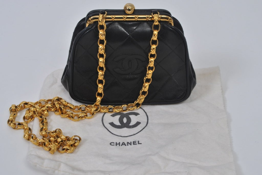 Chanel Black Leather Quilted Convertible Clutch 9
