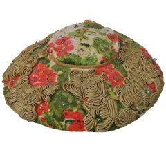 1950s Floral Embellished Picture Hat