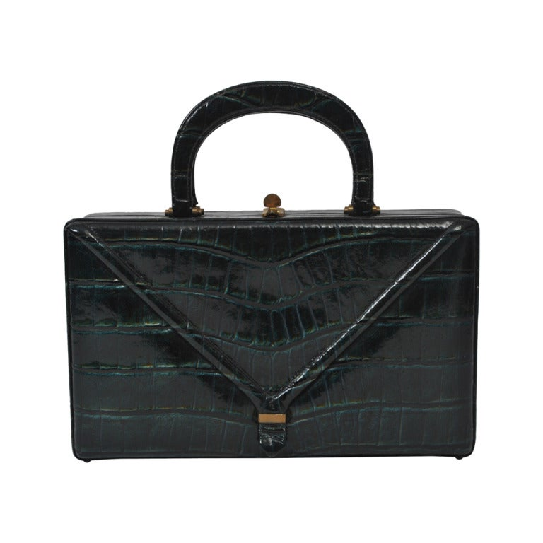 ae8e942afd02 1960s Teal Faux Alligator Box Bag For Sale at 1stdibs