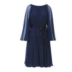 ESTEVEZ NAVY SHEER COCKTAIL DRESS