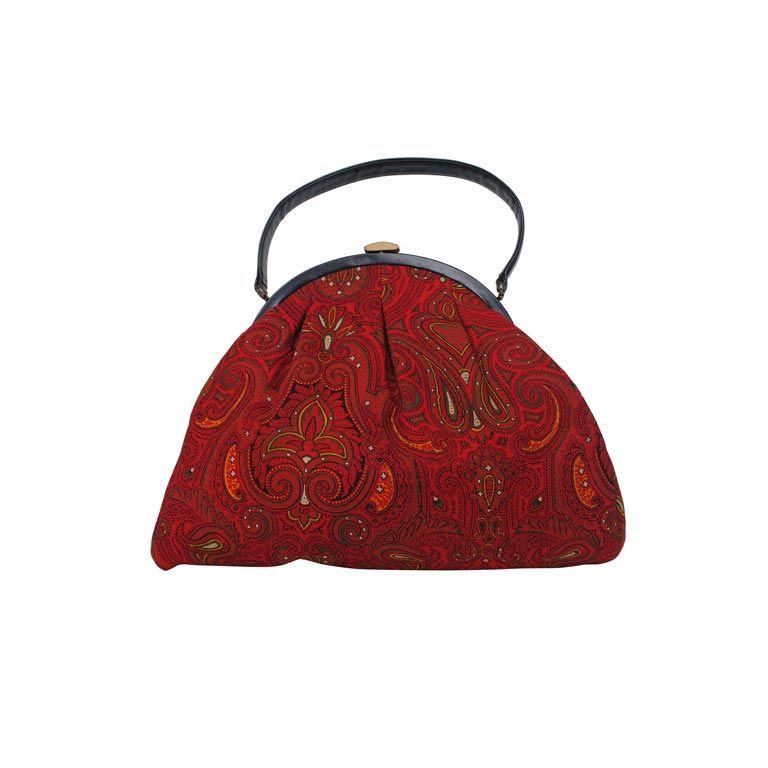 1stdibs Morris Moskowitz Red Crewel Handbag stfGFKN
