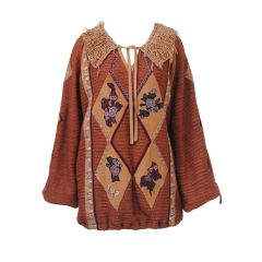 CAVALLI COPPER WOVEN WOOL TOP W/PAINTED SUEDE APPLIQUES