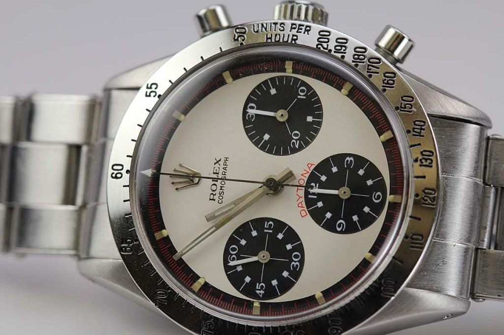 Rolex Stainless Steel Daytona Paul Newman Wristwatch Ref 6239 circa 1960s image 2