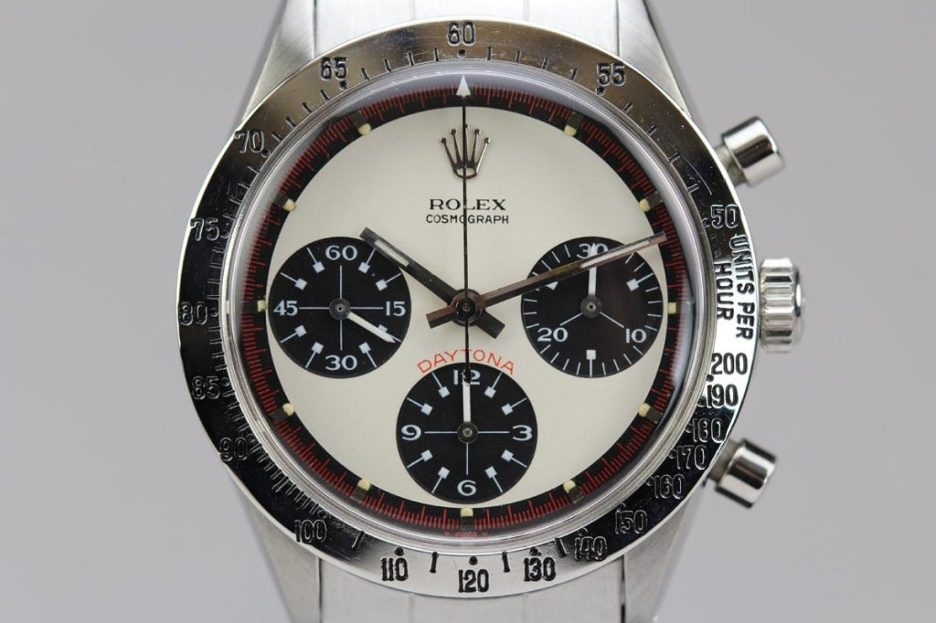 Rolex Stainless Steel Daytona Paul Newman Wristwatch Ref 6239 circa 1960s In Excellent Condition For Sale In Miami Beach, FL