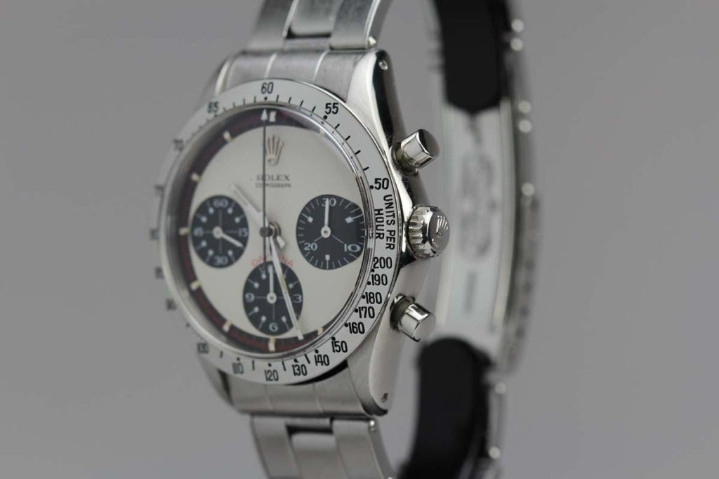 Men's Rolex Stainless Steel Daytona Paul Newman Wristwatch Ref 6239 circa 1960s For Sale