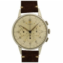 Universal Stainless Steel Oversized Compax Two-Register Chronograph Wristwatch