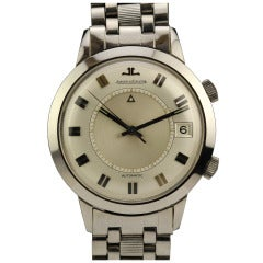 Jaeger-LeCoultre Stainless Steel Memovox Alarm Wristwatch circa 1960s