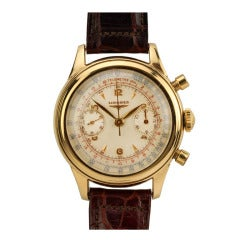 Longines Yellow Gold Chronograph Wristwatch circa 1950s