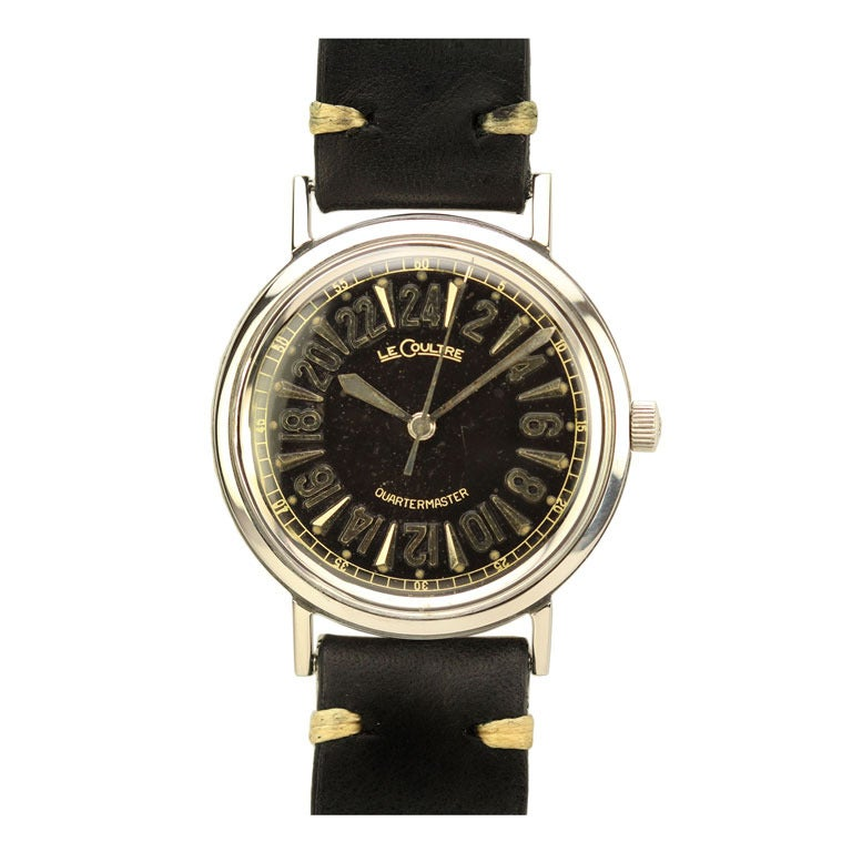Lecoultre stainless steel quartermaster wristwatch with 24 for Miami beach jewelry watch show