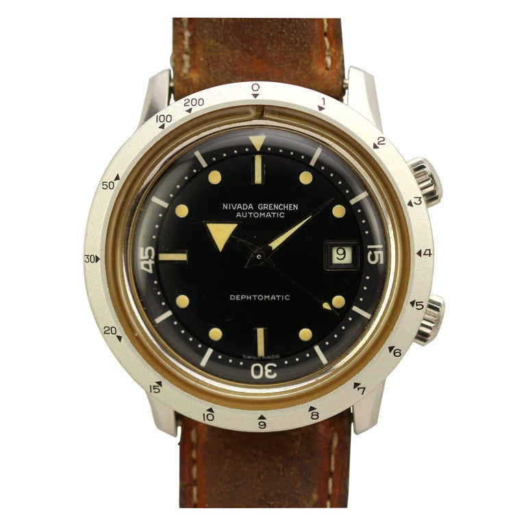 Nivada Grenchen Stainless Steel Dephtomatic Diver's Wristwatch circa 1960s