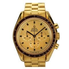 Omega Yellow Gold Speedmaster Apollo XI Wristwatch circa 1969