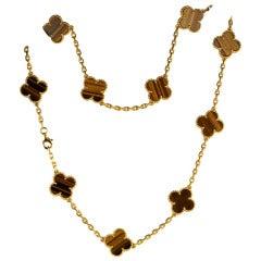 Van Cleef & Arpels vintage Tiger Eye Alhambra Necklace