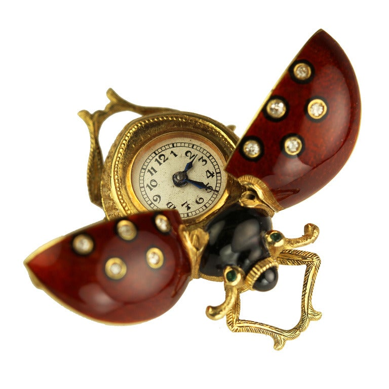 Gold And Guilloche Enamel Lady Bug Brooch Watch Circa