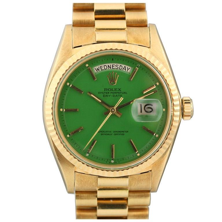 "Rolex  Day-Date Green ""Stella Dial Presidential"" 18k Ref 1803"