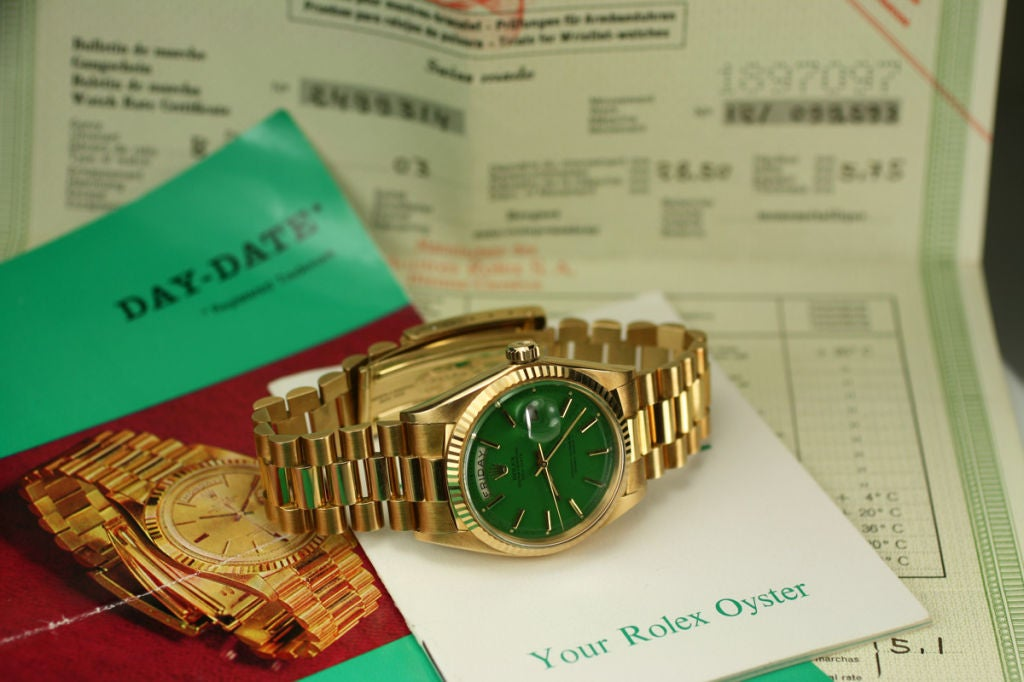 "Rolex  Day-Date Green ""Stella Dial Presidential"" 18k Ref 1803 image 2"