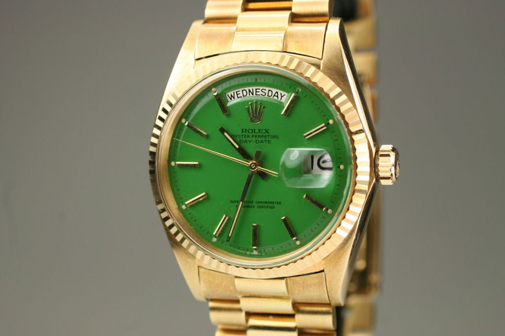 "Rolex  Day-Date Green ""Stella Dial Presidential"" 18k Ref 1803 image 3"