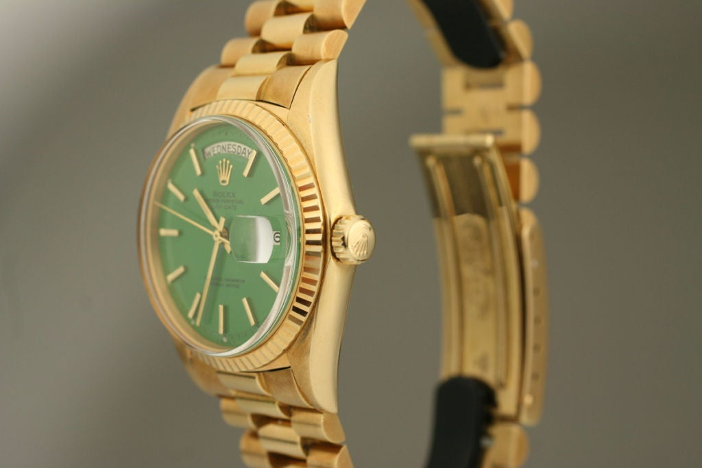 "Rolex  Day-Date Green ""Stella Dial Presidential"" 18k Ref 1803 image 4"