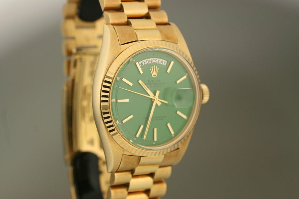 "Rolex  Day-Date Green ""Stella Dial Presidential"" 18k Ref 1803 image 5"