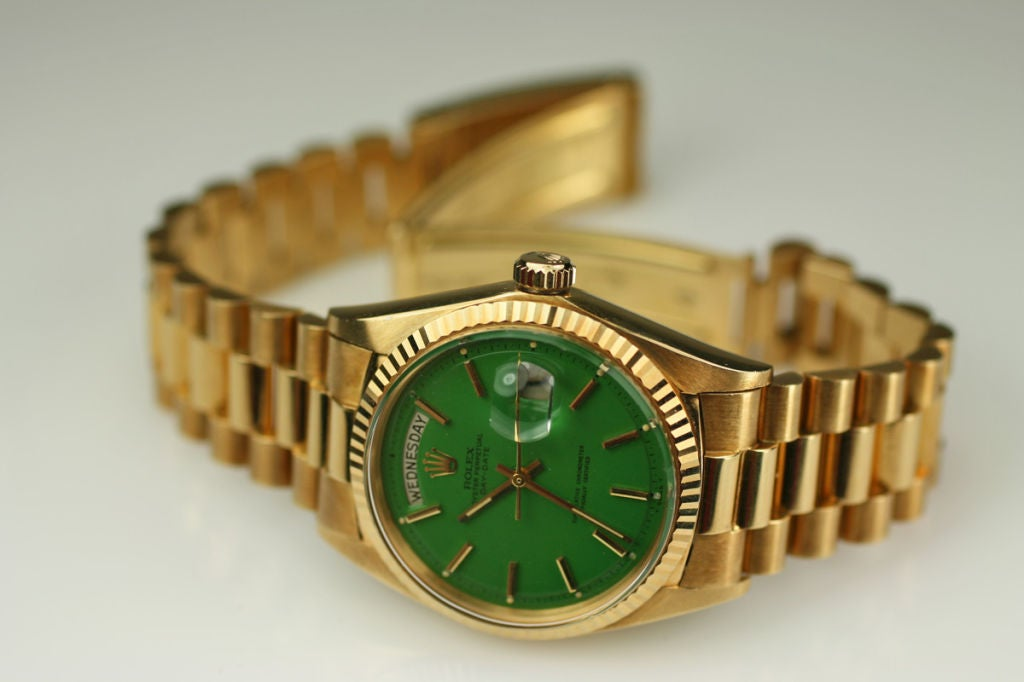 "Rolex  Day-Date Green ""Stella Dial Presidential"" 18k Ref 1803 image 9"