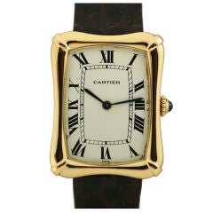 Cartier Paris Yellow Gold Coussin Bamboo Tank manual Wristwatch