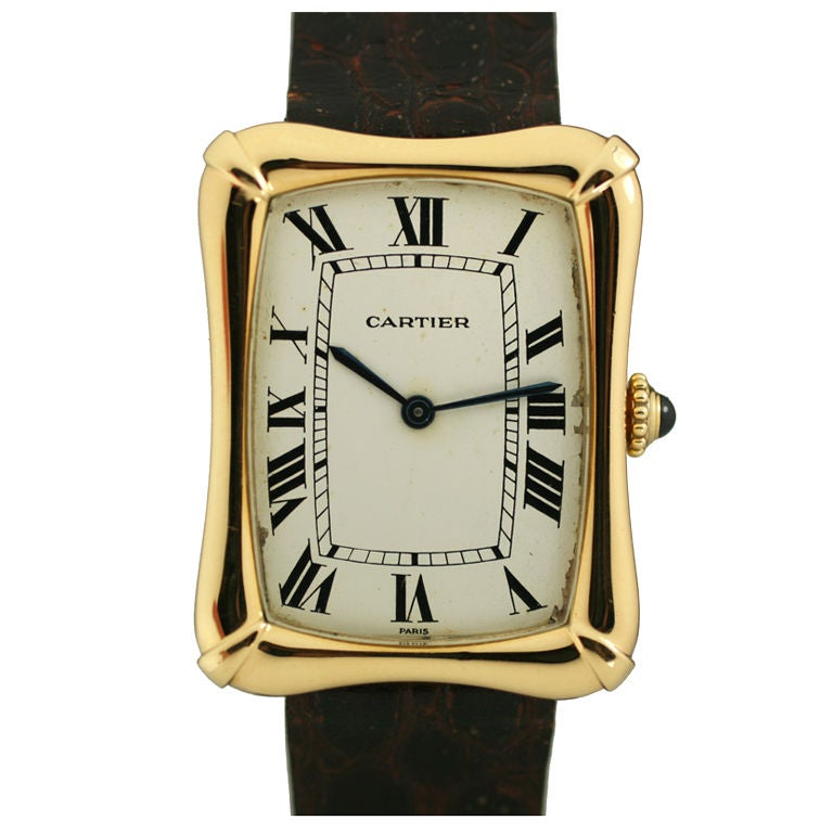 Cartier Paris Yellow Gold Coussin Bamboo Tank manual Wristwatch 1