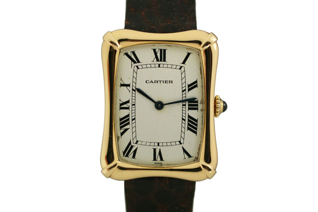 Cartier Paris Yellow Gold Coussin Bamboo Tank manual Wristwatch 2