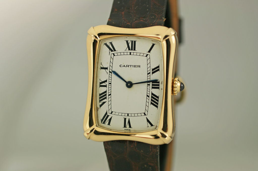Cartier Paris Yellow Gold Coussin Bamboo Tank manual Wristwatch 3