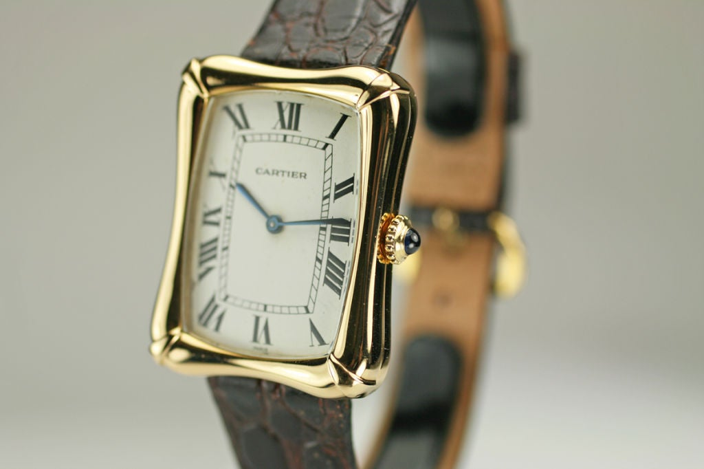 Cartier Paris Yellow Gold Coussin Bamboo Tank manual Wristwatch 4