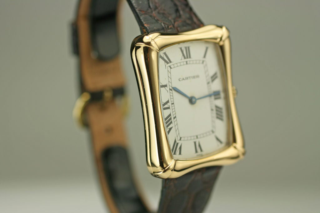 Cartier Paris Yellow Gold Coussin Bamboo Tank manual Wristwatch 5
