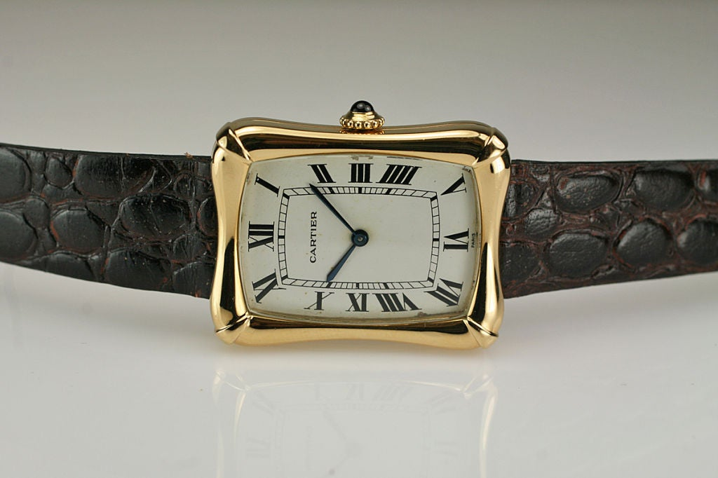 Cartier Paris Yellow Gold Coussin Bamboo Tank manual Wristwatch 6