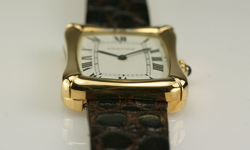 Cartier Paris Yellow Gold Coussin Bamboo Tank manual Wristwatch 8