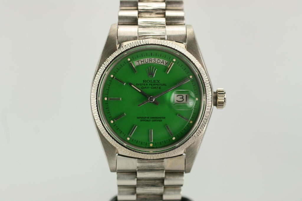 "Rolex  Day-Date Green ""Stella Dial Presidential"" Ref 1807 image 2"