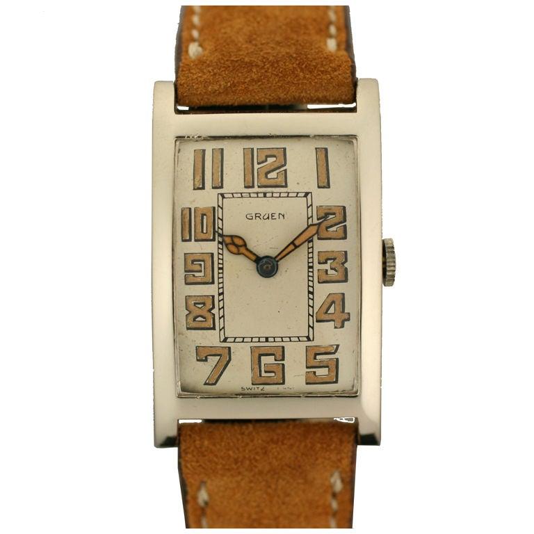Gruen Art Deco Tank Gold Watch at 1stdibs