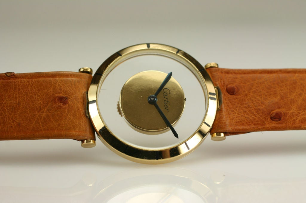 Cartier Yellow Gold see through style dial manual wind Wristwatch, circa 1980s 2