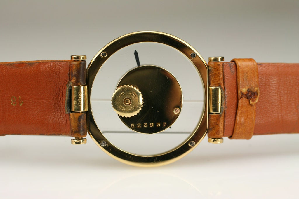 Cartier Yellow Gold see through style dial manual wind Wristwatch, circa 1980s 3