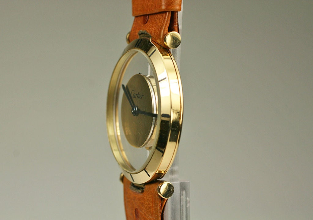 Cartier Yellow Gold see through style dial manual wind Wristwatch, circa 1980s 4