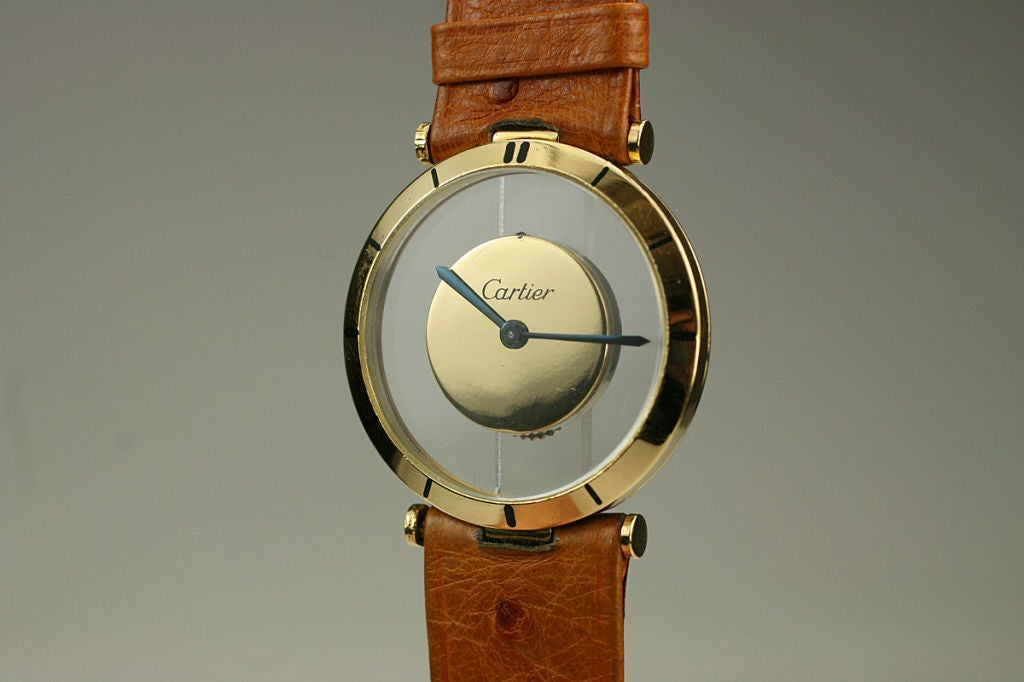 Cartier Yellow Gold see through style dial manual wind Wristwatch, circa 1980s 5