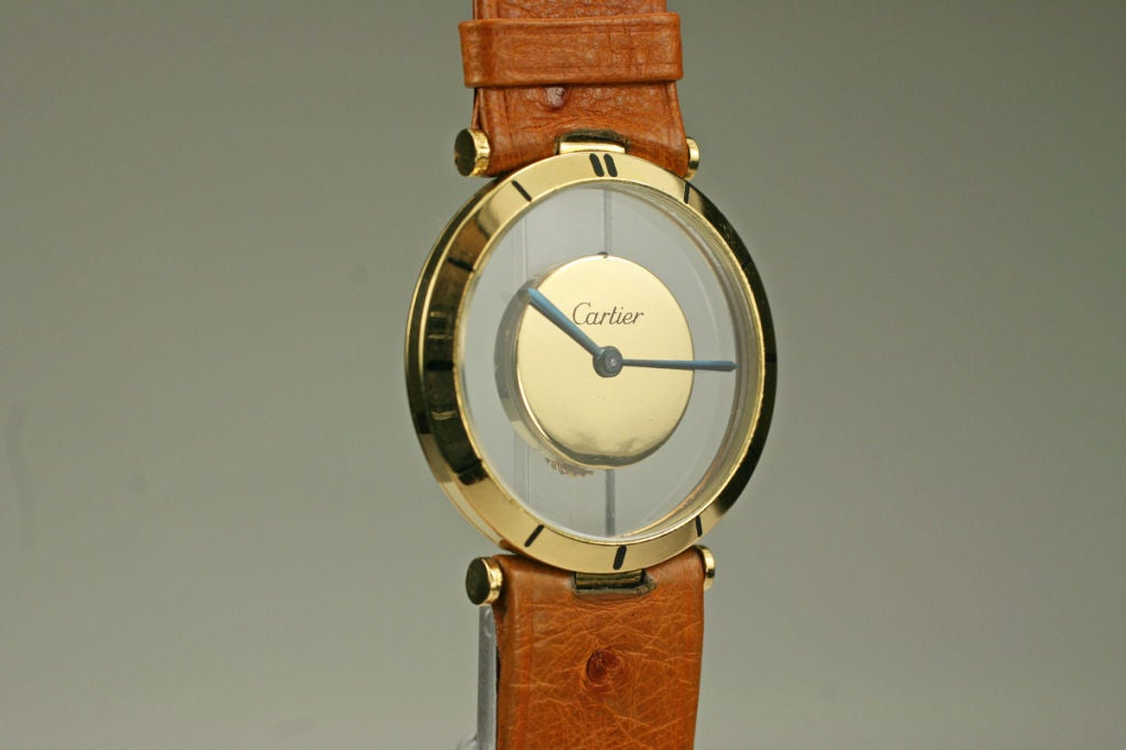 Cartier Yellow Gold see through style dial manual wind Wristwatch, circa 1980s 6