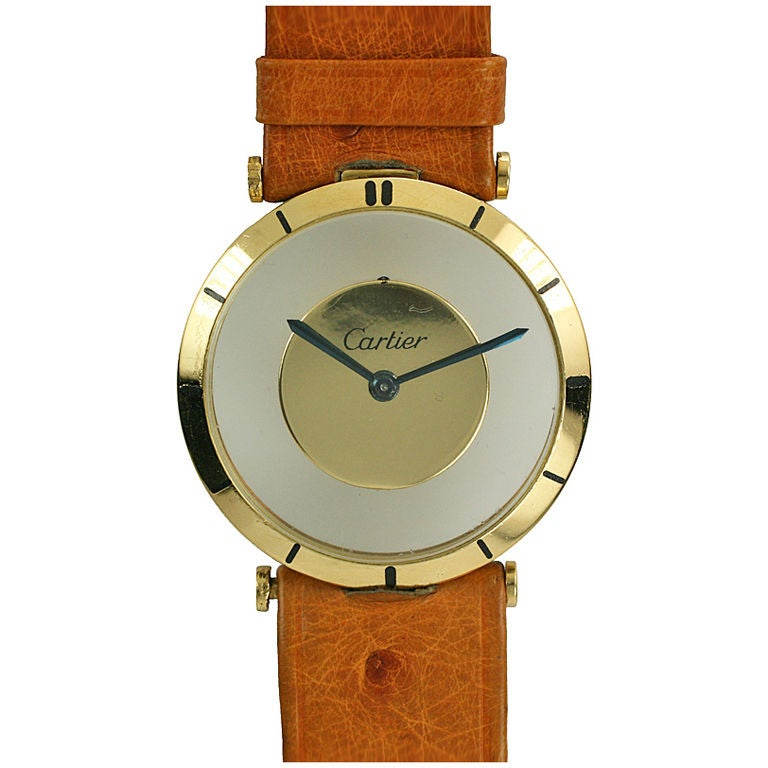 Cartier Yellow Gold see through style dial manual wind Wristwatch, circa 1980s