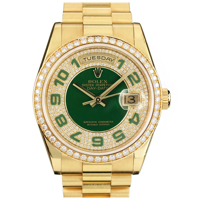rolex oyster perpetual day date green price